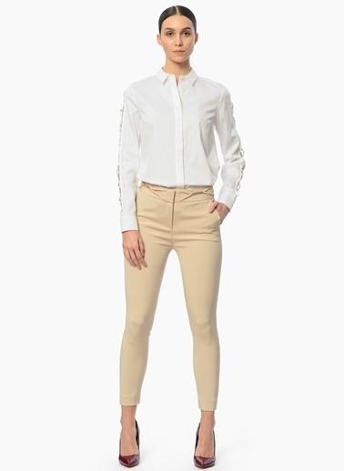 Network Kolları İşlemeli Gömlek Beyaz